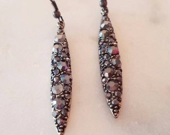 Gunmetal Swarovski Rhinestone Drips on Antique Gold Metal - Fashion Jewelry - Handmade Gifts for Her
