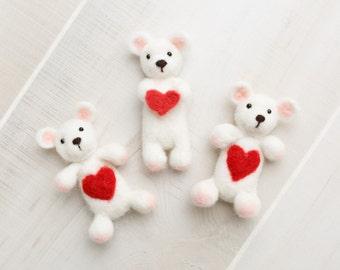 Felted Valentines teddy bear  stuffy newborn photography prop