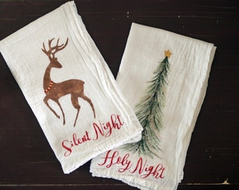 Christmas Tea Towel Set, Flour Sack, Silent Night
