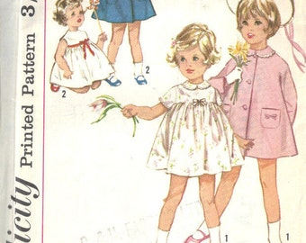1964 Childrens Vintage Sewing Pattern S2 B21 DRESS & COAT (C22)