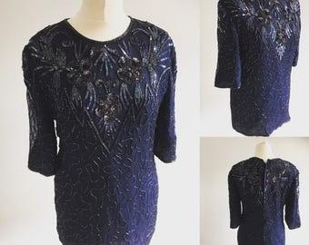 Vintage Frank Usher Midnight Blue Sequin Top - UK Size 12/US Size 8