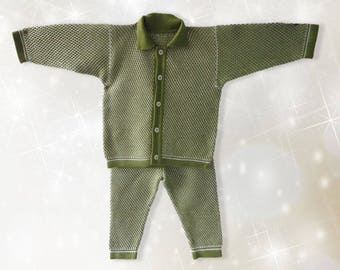 Knitted Baby Suit. Age 0 to 3 months.Knitted costumes for newborns. Baby set cardigan, long pants. READY TO SHIP!