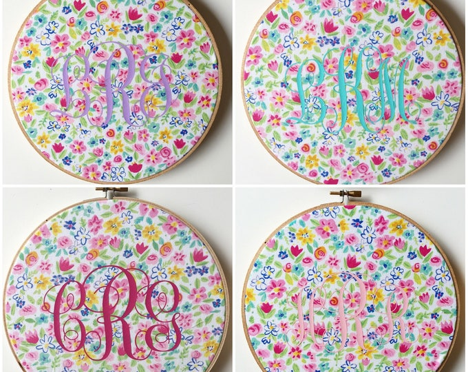 """CUSTOM PERSONALIZED 8"""" Wall Hoop Hanging Wall Decor in Fabric of choice"""