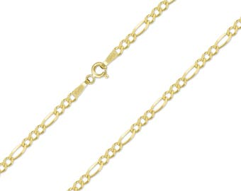 """10K Solid Yellow Gold Figaro Necklace Chain 2.5mm 16-24"""" - Polished Link"""