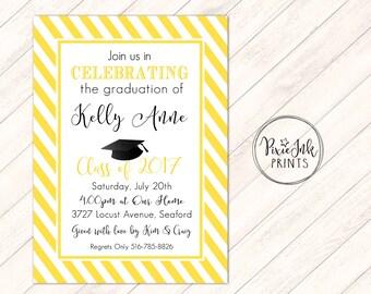 Yellow Graduation Party Invitation, Gold Stripe Graduation Invitation, Simple Graduation Invite, Class of 2017 Grad Invite Printable