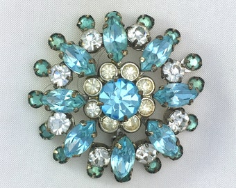 Vintage Turquoise Paste 1950s Round Brooch