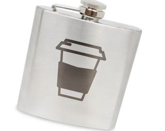 Coffee Cup 6 Oz Flask, Stainless Steel Body, Handmade In Usa