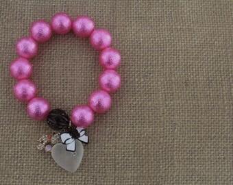 Bead Bracelet / Pink Bracelet / Charm Bracelet