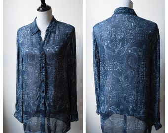 Oversized sheer blue paisley blouse/ Indian rayon button up/ wood buttons/ size 8