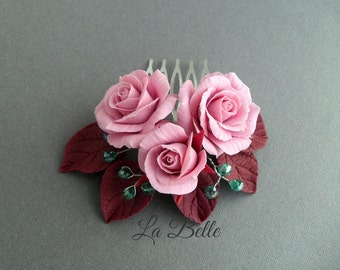 Comb with roses from polymer clay