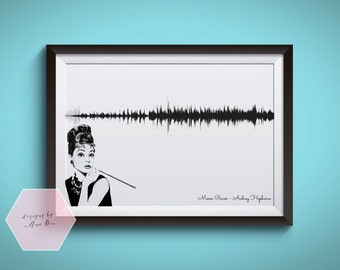 Sound Wave Art Print Audrey Hepburn Breakfast at Tiffany's Moon River Soundwave