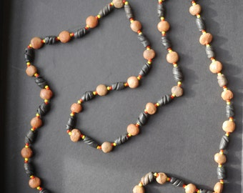 Vintage clay beaded necklace long strand with brown and black clay beads
