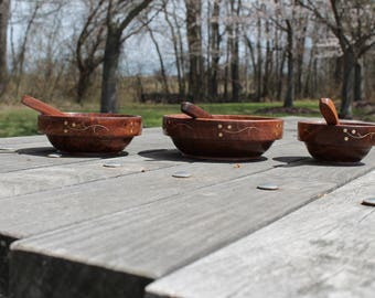 Wooden bowls with spoons, Vintage Salad bowls, Handmade Serving bowls, Gift for her, Housewarming, Thanksgiving, Antique, Ecofriendly