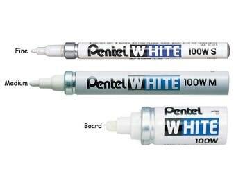 3pcs Set - Pentel X100W Board, Medium and Fine Point Paint Markers - White