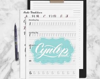 Brush Calligraphy Workbook, Brush lettering workbook, Calligraphy, Calligraphy Worksheet, Learn Brush Lettering, Tombow Brush Pen