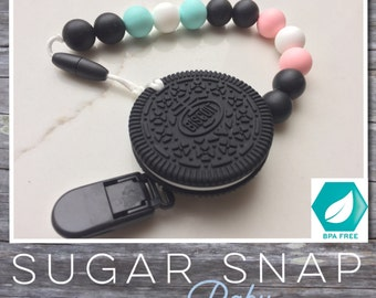 Silicone original Oreo cookie Teether - bite toy - chew toy -  toddler gift - Bpa Free - teether - baby present - toddler toy- personalize