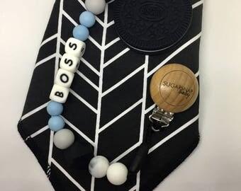 Gift Set - Bandana Bib & Teether - BOSS chew beads- silicone teether - organic cotton black and white chevron bandanna bib - oreo original