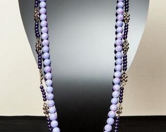 Purple beaded necklace.