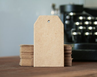 50 tags labels American Kraft size medium 4cmx7cm