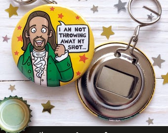Hamilton inspired Bottle Opener Keychain, Key Chain, Keyring, Key Ring, 58mm