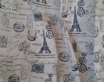 Bedroom curtains, Paris curtains, Navy blue and cream, travel theme curtains, Eiffel Tower, curtain panels, window curtains