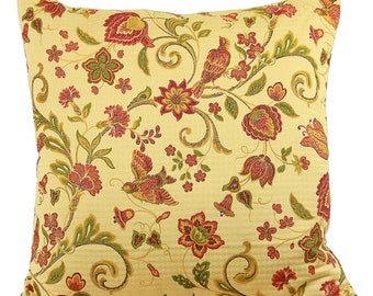 Cardinal and Red Flower Decorative Pillow Cover 24 Inch (Euro), 20 Inch, Lumbar