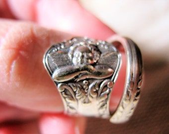 Vintage Sterling Angel Raphael Spoon Ring