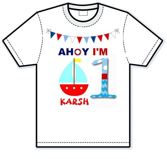 Oh boy I'm 1 nautical ship birthday shirt