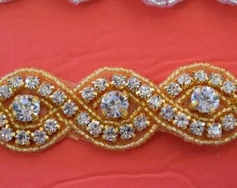 """Crystal Rhinestone Trim by the Yard-Wholesale Silver or gold Bridal Trim- rhinestone banding- 1"""" Crystal Trim -Rhinestone Applique"""