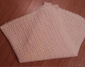 Handmade Crochet Cream Color Baby Blanket