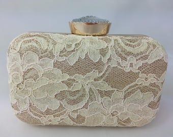 Beige gold lace crystal day evening bag prom bag wedding bag occasion clutch ladies evening bag