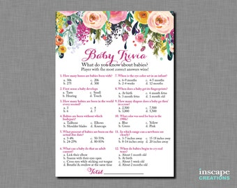 Baby Trivia Game Printable, Floral Baby Shower Baby Trivia Game, Baby Trivia in 2 sizes