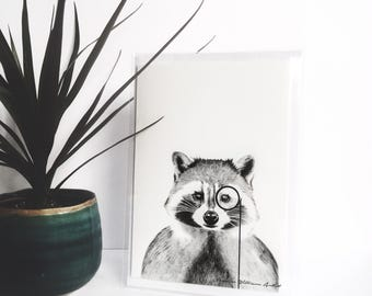 Racoon wearing a monocle, humorous, greeting card, blank inside