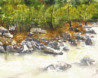 Original Watercolor Landscape Painting, Original Watercolor Painting, Original Landscape A4, Water, Rocks, Trees, Pebbles, Nature, Gift,