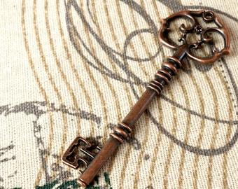 Key charm 3 copper vintage style  jewellery supplies C81