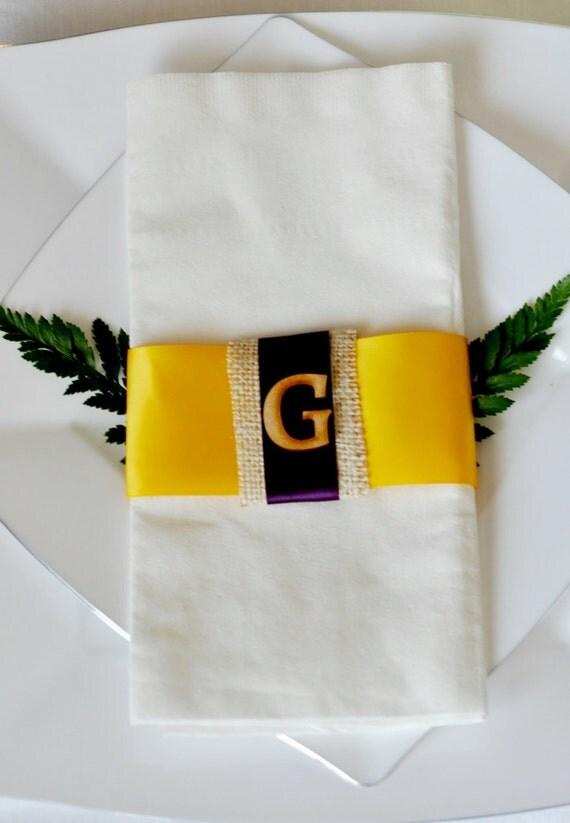 Monogrammed Burlap Accented Linen-Like Wedding Napkin