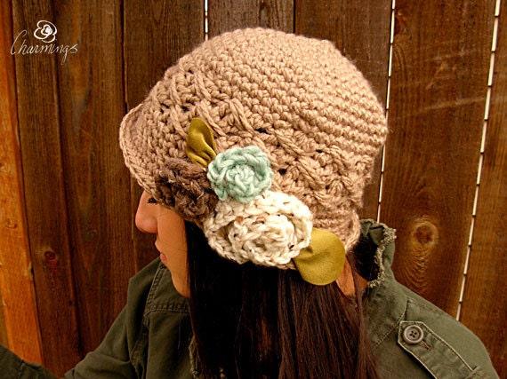 The Mia Cloche, Cloche with Crochet, Classic Woman's Hat, Beige Hat, Flapper Hat, Fashion Hat