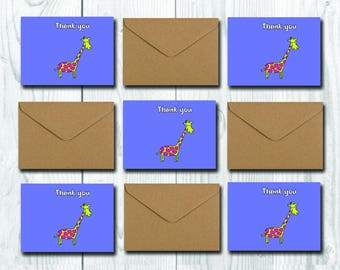 Giraffe Thank You Card Set, 5 Children Thank you Cards, Funny Cute Party Cards, Greetings Cards Pack, Wishes for Boys and Girls,Blank inside