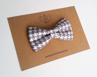 Boy's, Toddler, Baby, Gray Hounds tooth Bow Tie