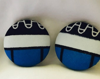 Blue, Black and White Button Earrings