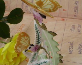 Vintage  porcelain  figurine,butterflies on flower,handpainted