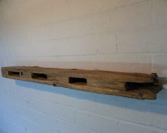 Driftwood fence post floating shelf