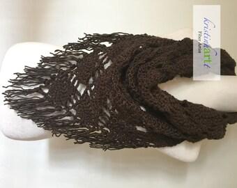 Lacy Infinity Scarf in Dark Brown / Handmade Crochet / Women's Gift Idea / Stylish / Warm / Fringe