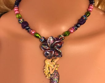 Blonde Mermaid Necklace w flower w greens , purple and pink