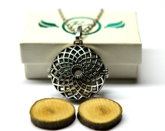Sunflower Locket Essential Oil Diffuser Necklace // Aromatherapy Necklace // - With Choice of Essential Oil