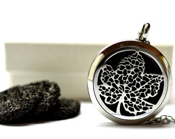Maple Leaf Lava Stone Stainless Steel Diffuser Necklace // Aromatherapy Necklace // - With Choice of Essential Oil