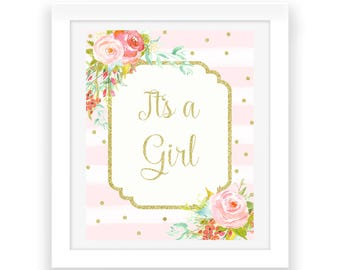 Gender Reveal Baby Girl Party Decorations - Its A Girl Sign - Baby Shower Decorations - Baby Shower Sign - Printable Party Sign - Baby Decor