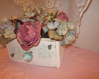 Pretty White/Blue Distressed Wood Box