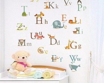 Animals Alphabet Wall Sticker, Letter Wall Decal, Alphabet Wall Decal, Vinyl Wall Decal, Nursery Wall Decal, Alphabet decals