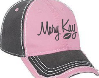 Embroidered Mary Kay Hat, Mary Kay Hat, Pink Mary Kay Hat, Embroidered Mary Kay